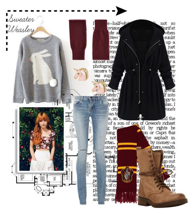 """""""Lily Luna Potter - Hogsmead"""" by bia-jackson on Polyvore featuring WithChic, Yves Saint Laurent, Ann Taylor and Steve Madden"""