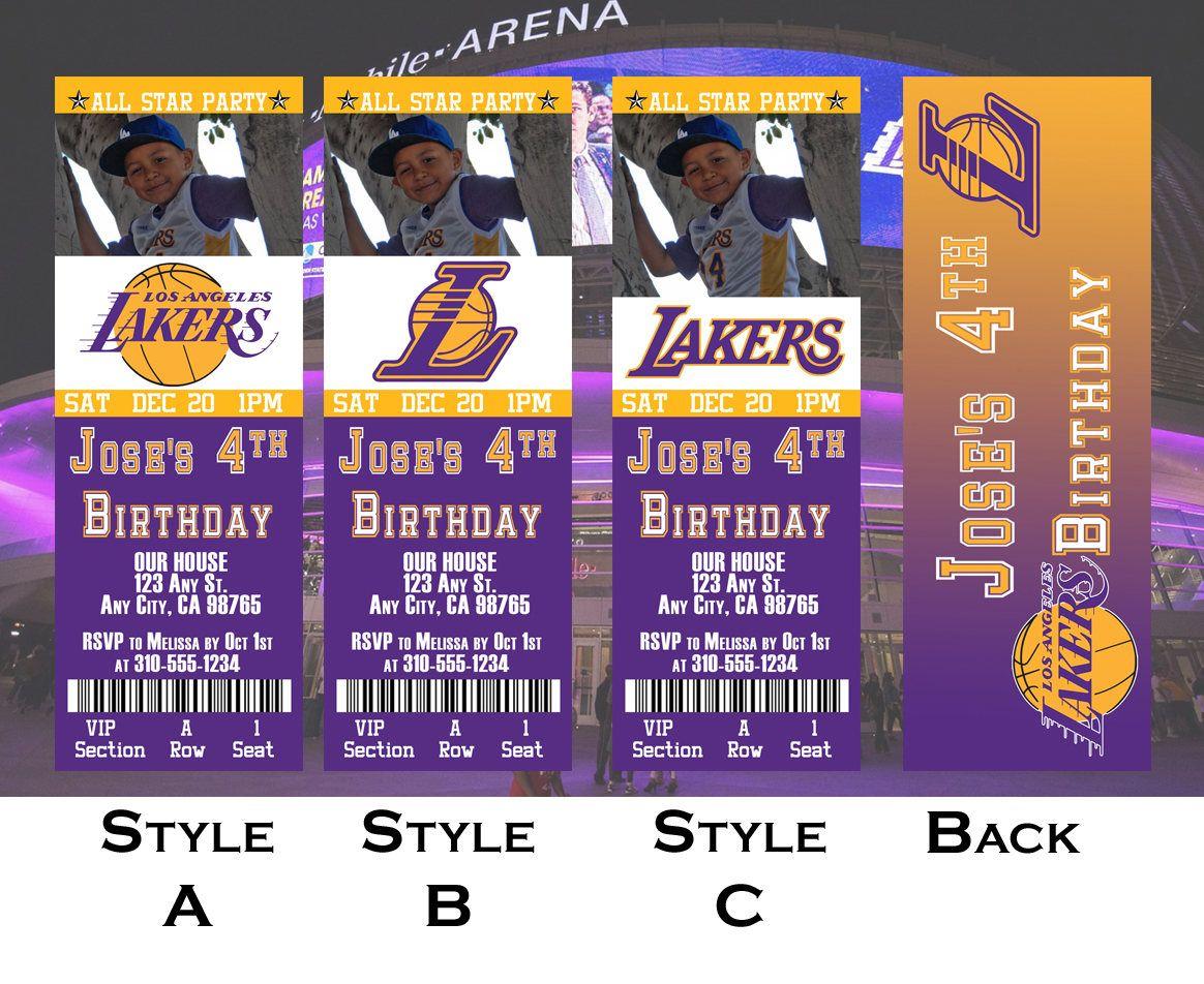 La Lakers Ticket Invitation Etsy Ticket Invitation La Lakers Tickets La Lakers