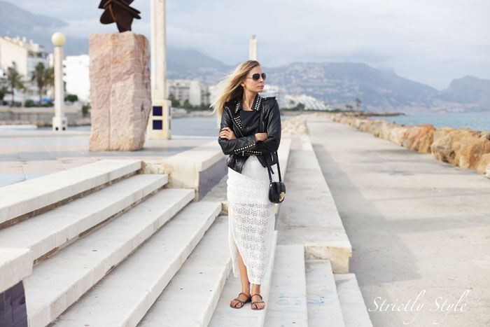 black leather jacket strictly style blog in altea white lace dress sisters outfit