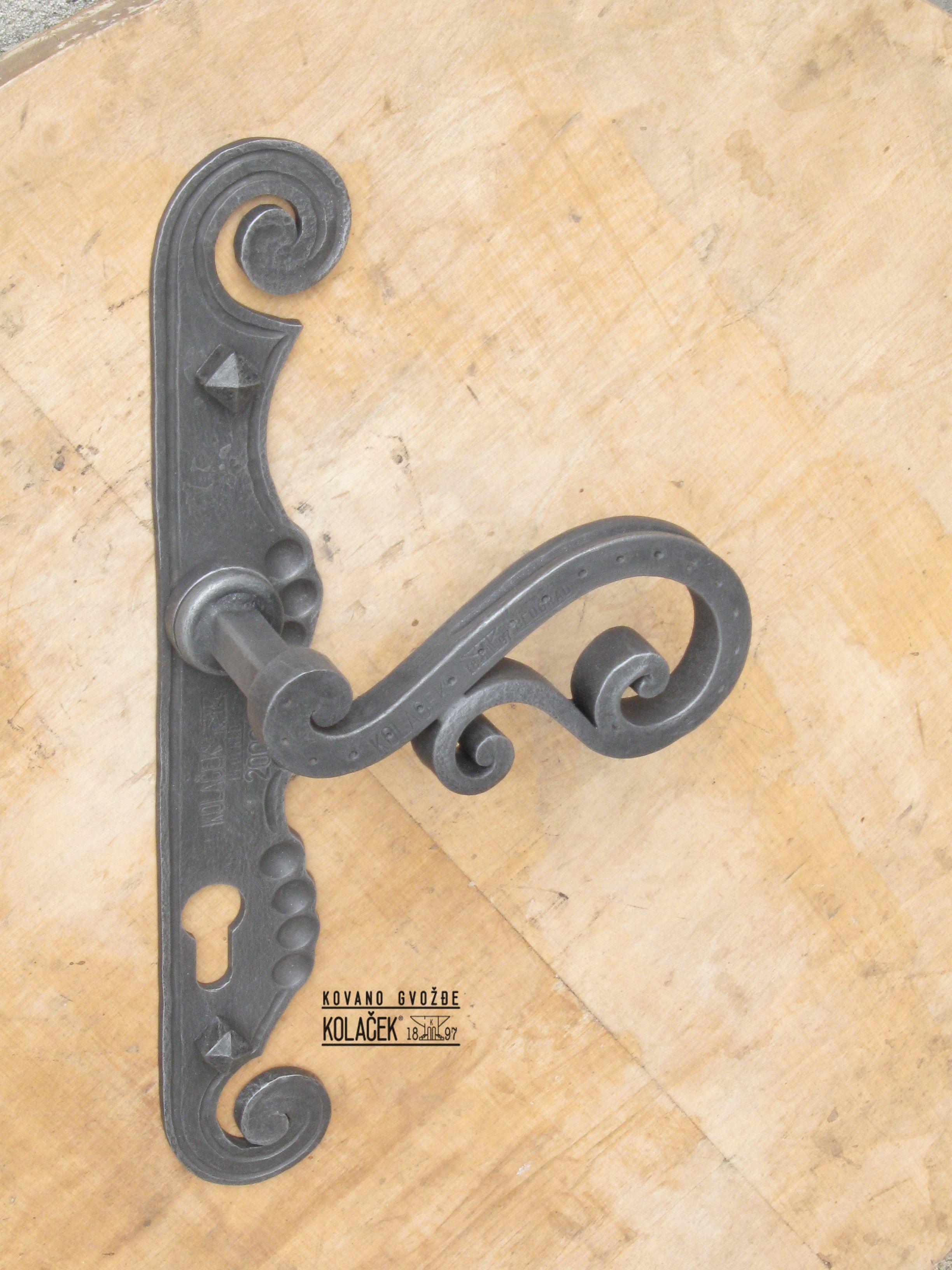 Door handle, wrought iron. Kvaka od kovanog gvozdja Kolacek 1897