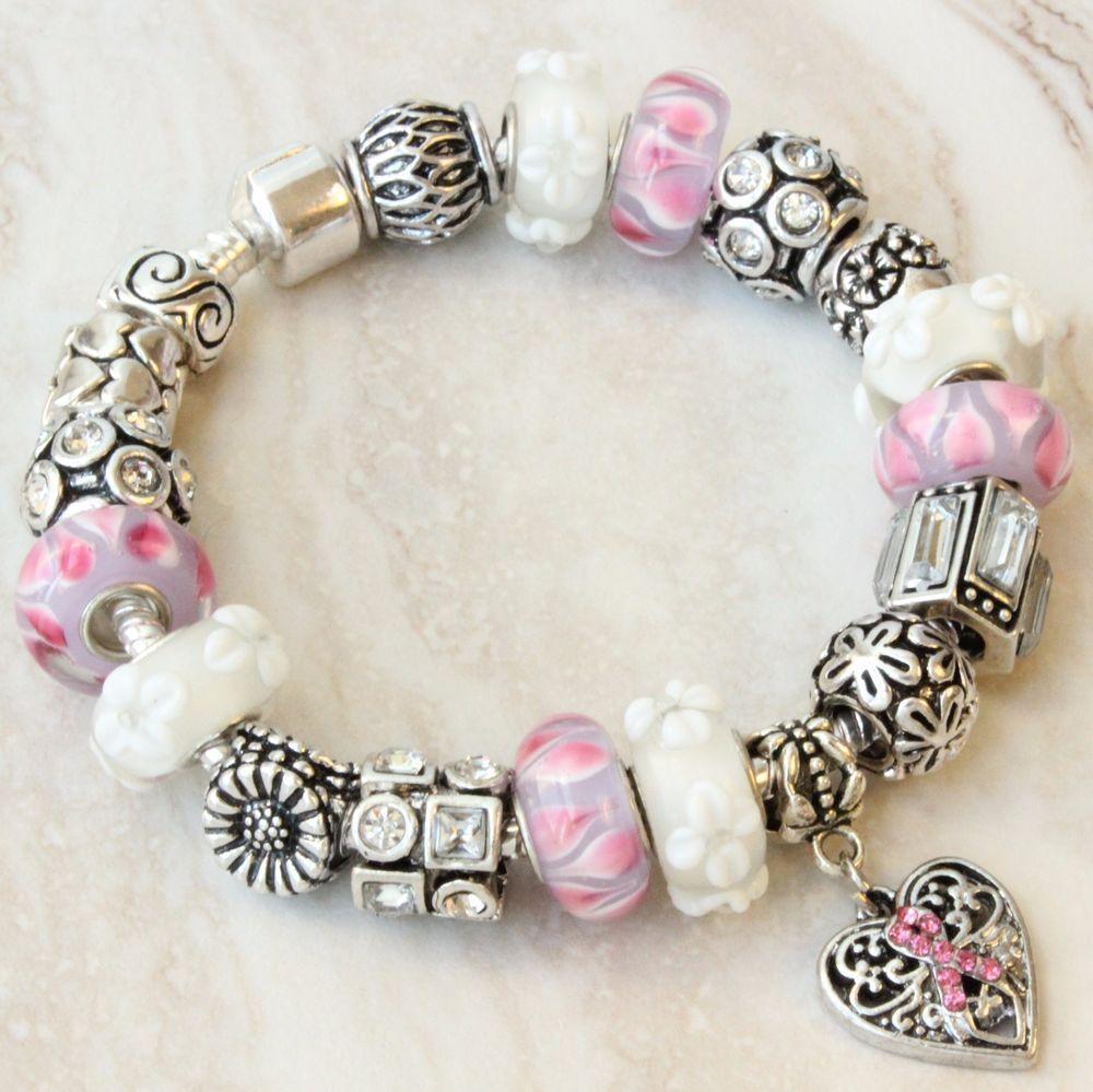 Pink ribbon European charm bracelet breast cancer awareness pink white beads #Handmade #European