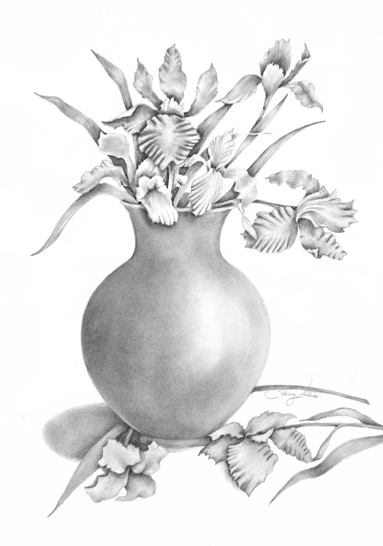 Vase Of Irises Pencil Drawing Print Flower Drawing Pencil Drawings Of Flowers Flower Vase Drawing