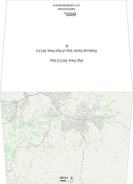 "Greetings Card High Peak SK13 6 Map 6""x8"" inch Greetings Card made in the UK"