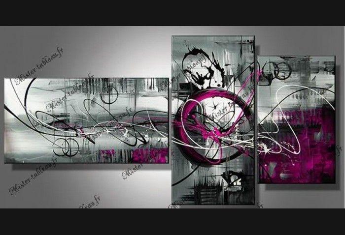 Toiles peintures tryptique abstrait fushia gris for Toile tendue murale pas cher