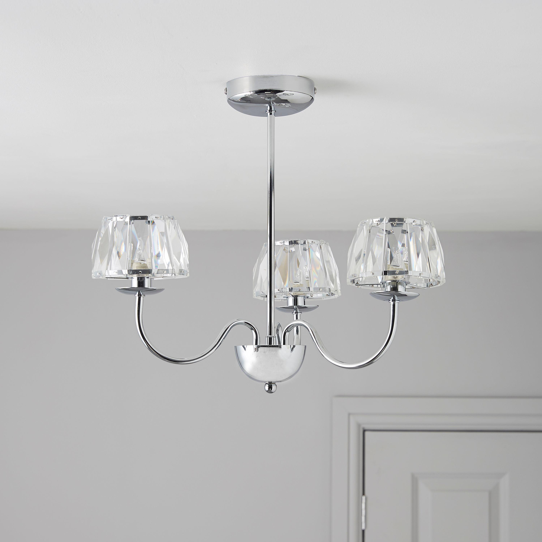 Waldor Faceted Glass Chrome Effect 3 Lamp Pendant Ceiling Light