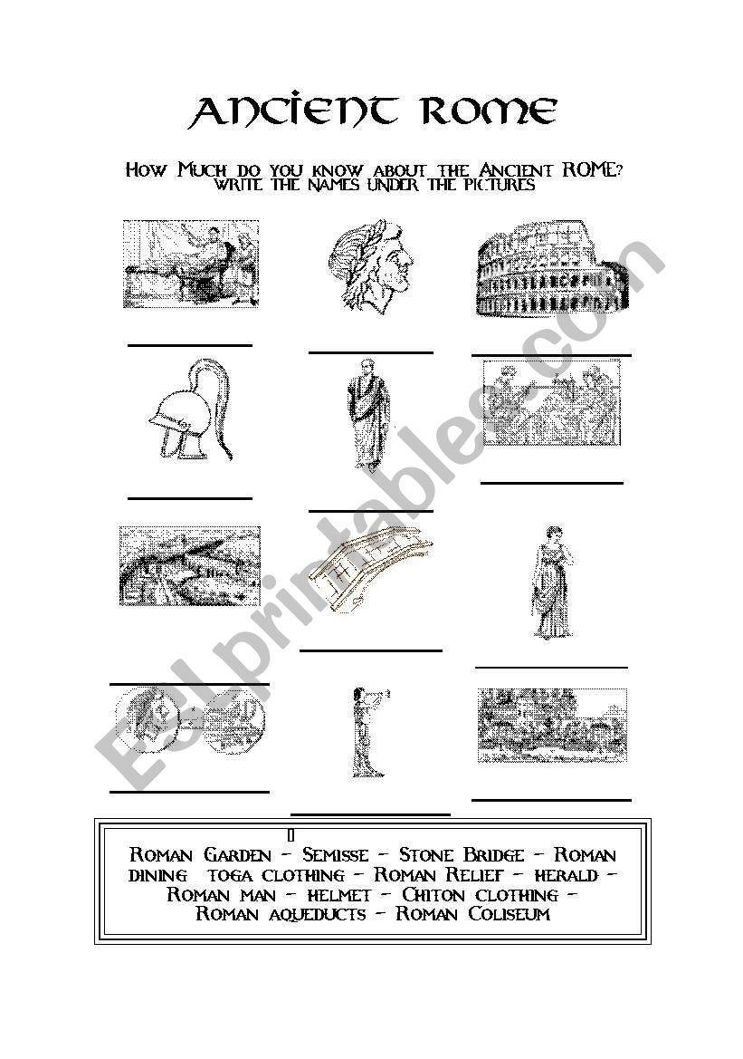 Ancient Rome - ESL worksheet by evacufu in 2020   Ancient ...