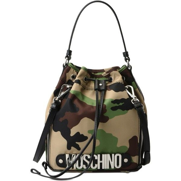 Moschino Bucket Bag ( 480) ❤ liked on Polyvore featuring bags, handbags,  shoulder bags, military green, camo purses, camouflage handbags, moschino  shoulder ... 4f68fd6f90