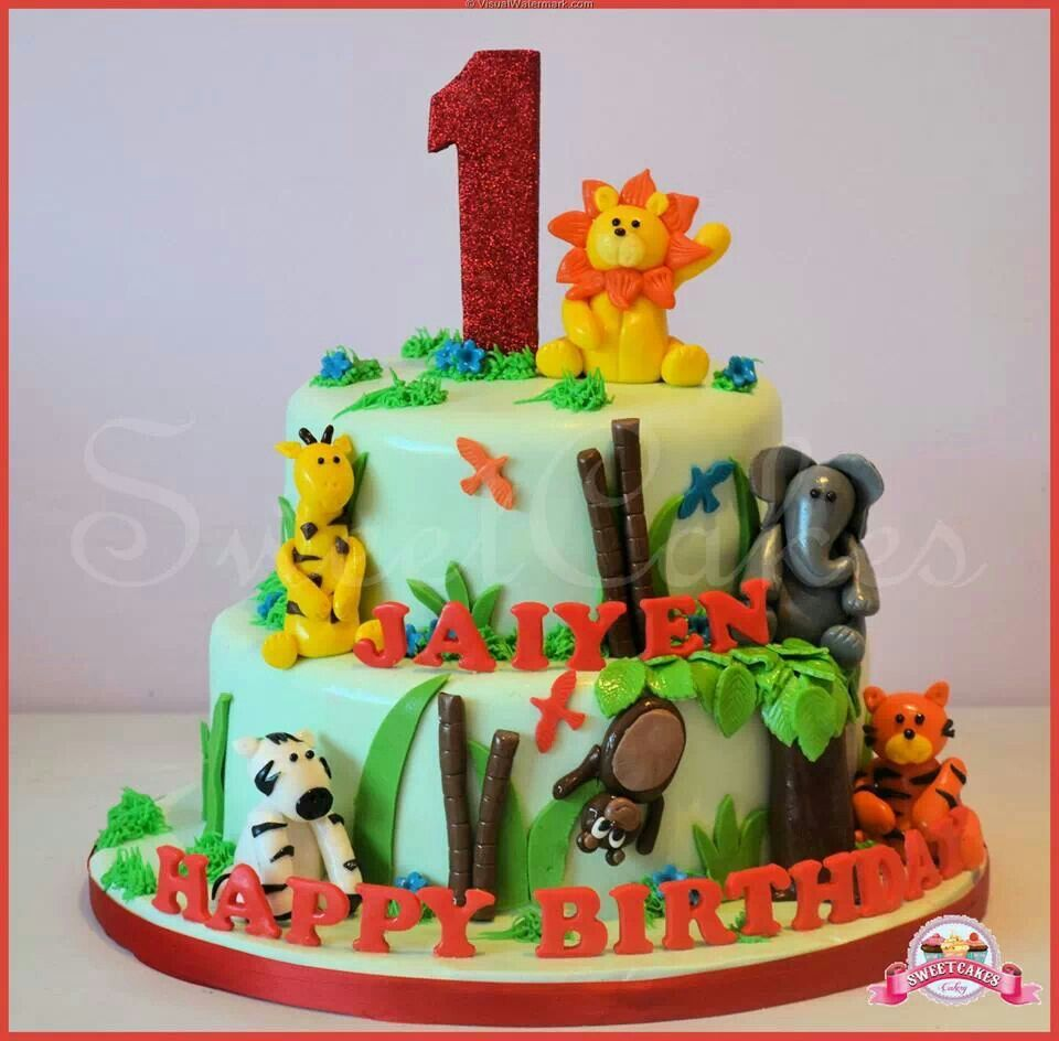 2 Tier Jungle Themed First Birthday Cake Jasons birthday ...