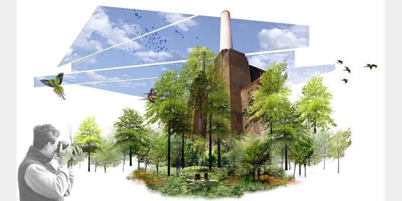 Battersea power station landscape proposal by lda design for Garden design proposal