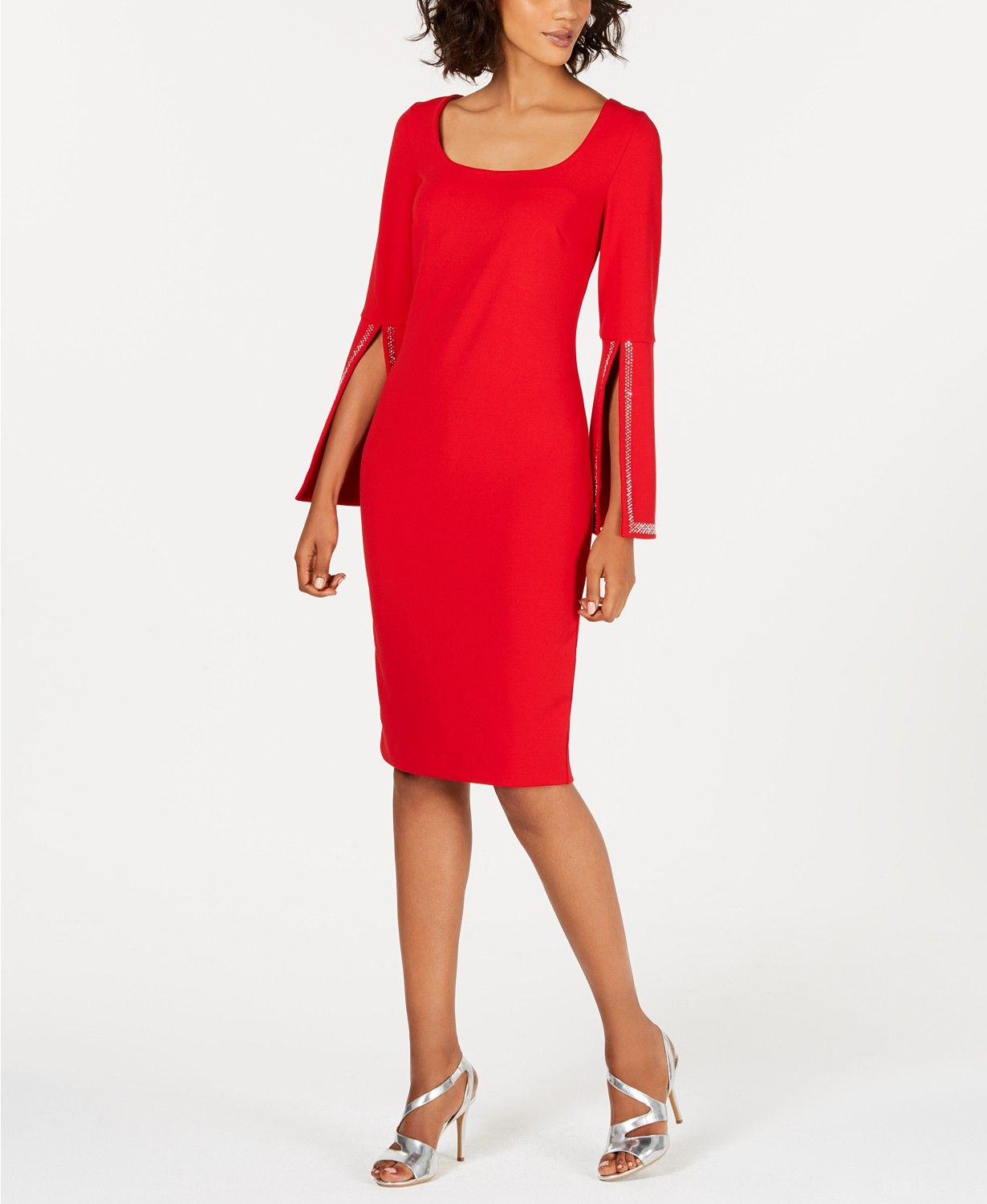 Calvin Klein Blingy Bell Sleeve Sheath Dress Dresses Women Macy S Red Bell Sleeve Dress Bell Sleeve Dress Outfit Clothes For Women [ 1500 x 1230 Pixel ]