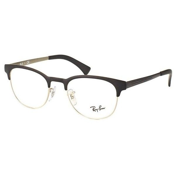 ecb462ae31d2 Ray-Ban Ray Ban RX6317 2832 Round Metal Clubmaster Glasses ( 120) ❤ liked  on Polyvore featuring accessories