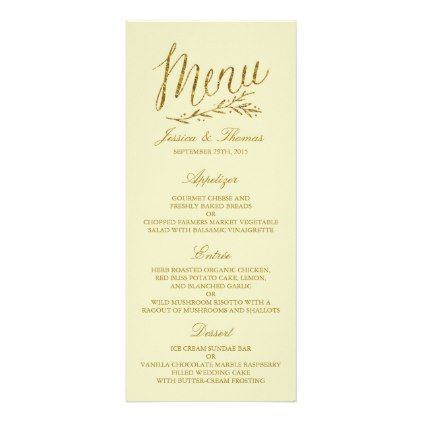 Chic Faux Gold Foil Wedding Menu Template  Ivory  Wedding Menu