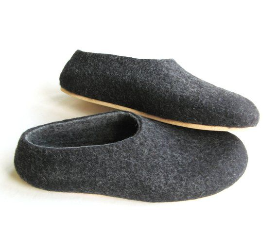 7418c03fe6f1c Dad gifts from Daughter Warm slippers Felted slippers Charcoal, Mens ...