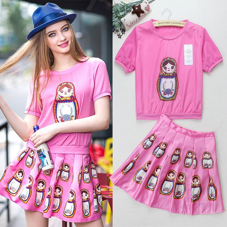 Europe In The Summer Of 2015 Are High-end Women's New Printing Head Two Short Sleeved Dress Suit 8523 - http://www.aliexpress.com/item/Europe-In-The-Summer-Of-2015-Are-High-end-Women-s-New-Printing-Head-Two-Short-Sleeved-Dress-Suit-8523/32390800834.html