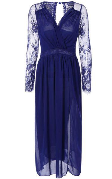 Blue Slit Chiffon Maxi Dress via @bestmaxidress