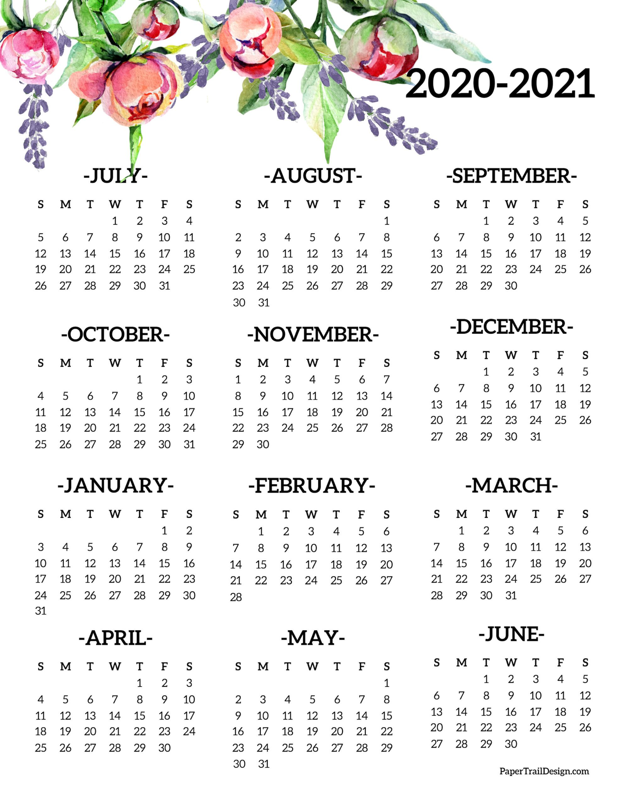 2020 2021 School Year Calendar Free Printable Paper Trail Design In 2020 Printable Yearly Calendar Calendar Printables Print Calendar