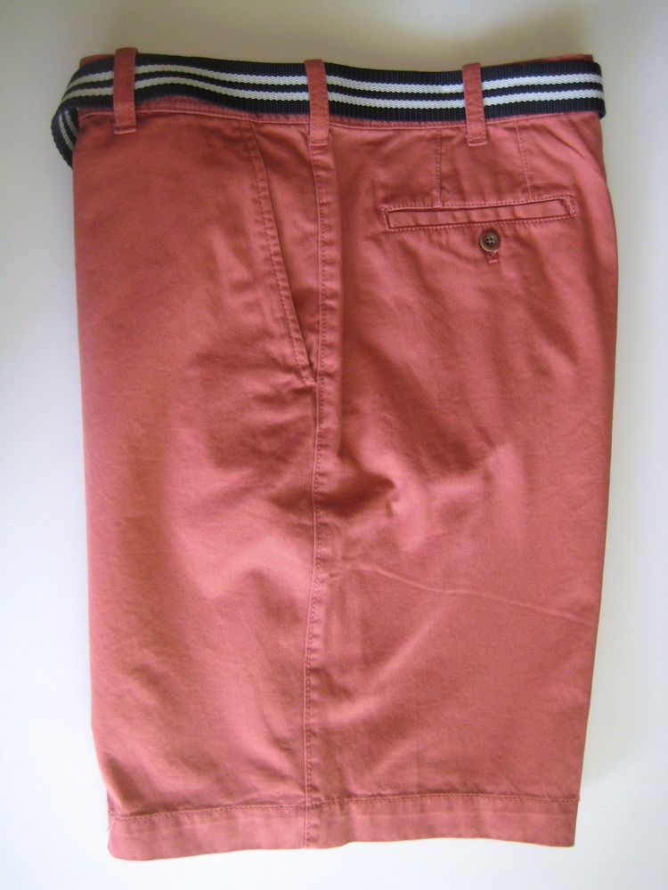 IZOD Men\'s Flat Front Bermuda Shorts 38 Light Red Watermelon with ...