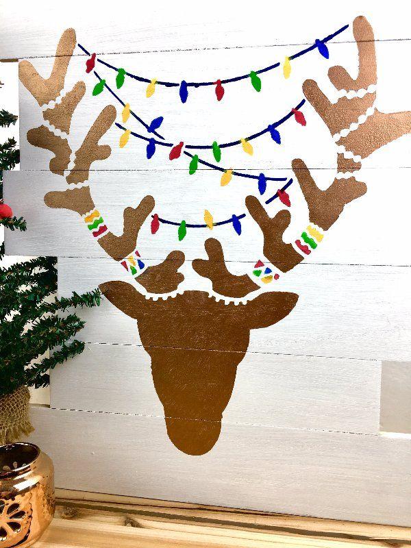 Wooden Reindeer Stencil Art Holiday Stencils Crafts Ideas