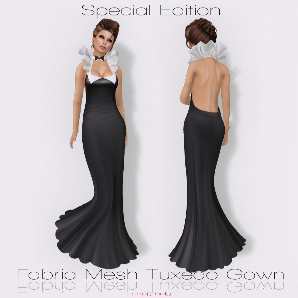 Trendy tuxedo style dress speical edition fabria tuxedo gown this sharp and elegant gown