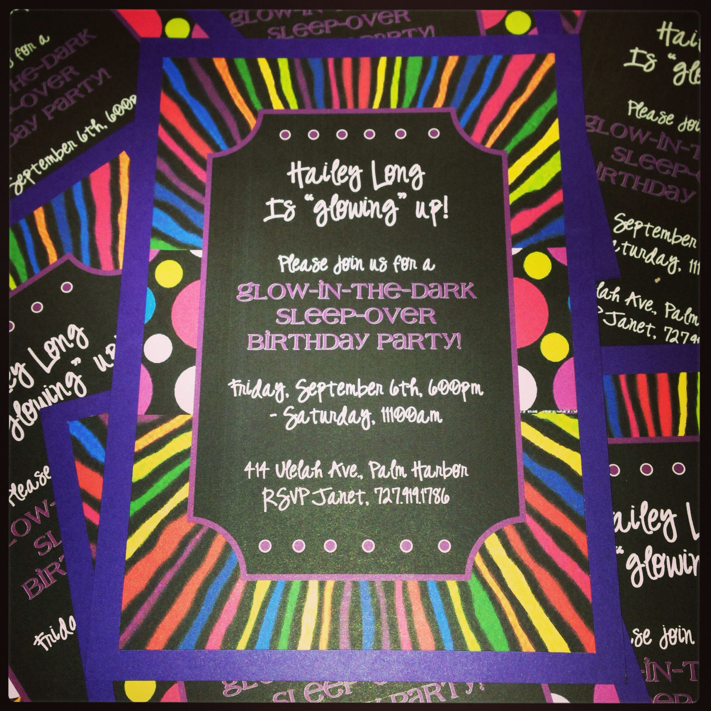 Party Invite for glow in the dark party from Kookie Krums  #peacelovecookies