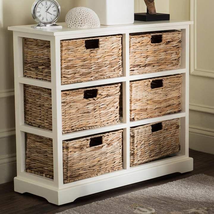 Safavieh Keenan Wicker Basket Storage Cabinet Storage Baskets