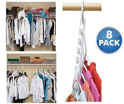 8 Pack Closet Hanger Super Space Saver Organizers Clothes