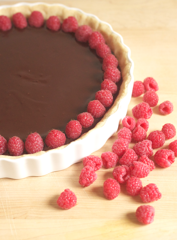 chocolate ganache tart with shortbread crust.
