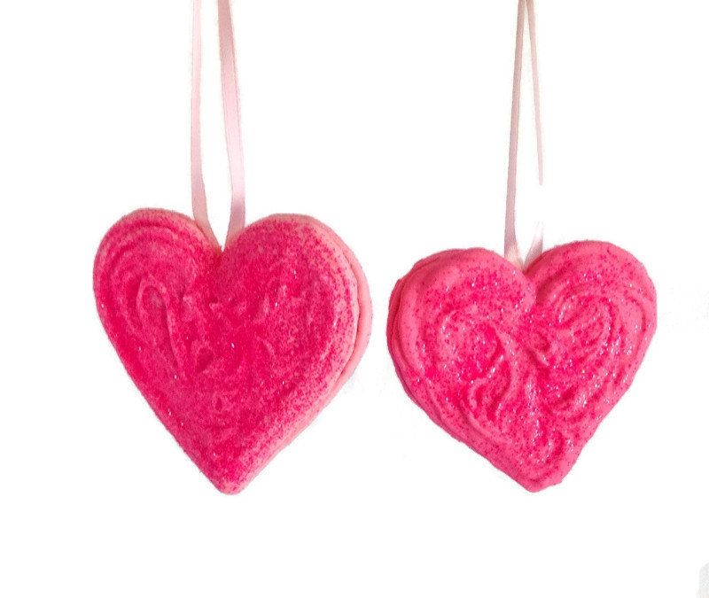 Valentine Pink Heart Ornament Handmade Unique Decorative Hanging Valentines Day Decoration Cottage Chic Decor Sparkly Glittered Set Of 2 In 2020 Heart Ornament Handmade Ornaments Valentines Day Decorations