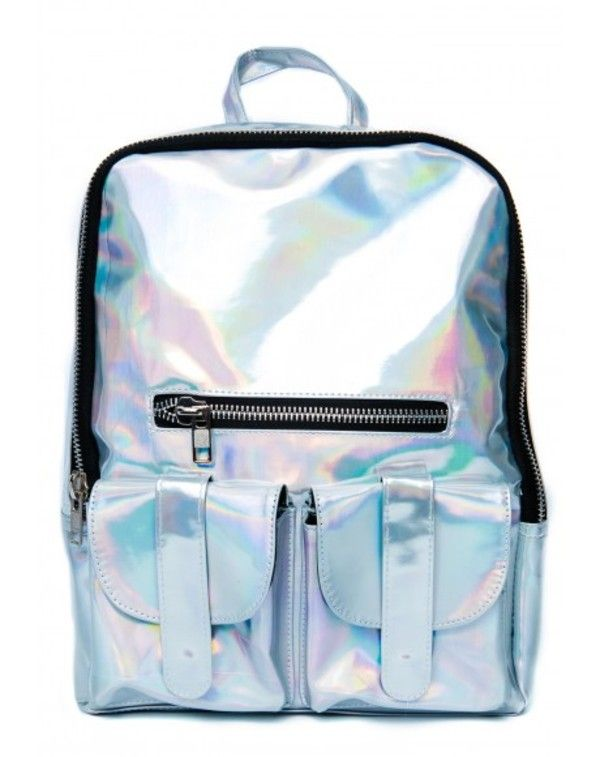 New Hologram Holographic Gammaray Silver Laser Leather School Backpack Tote  Bag a5242edabc
