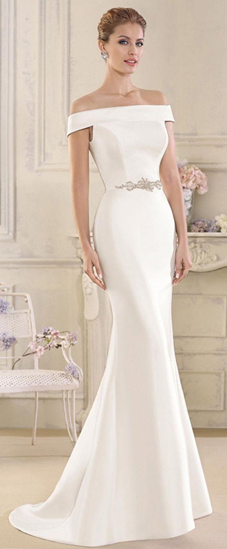 Elegant Satin Off The Shoulder Neckline Mermaid Wedding Dresses With Beadings Rhinestones Bridal Dresses Elegant Wedding Dresses Lace Wedding Dresses [ 1450 x 600 Pixel ]