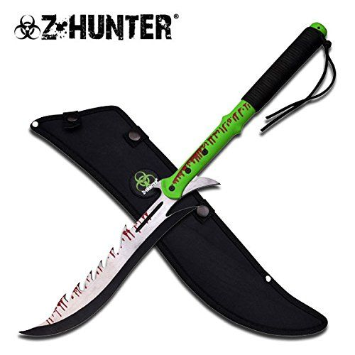 "Z Hunter Zombie Killer Machete / Sword 14-3/4 Long 2 Handed Handle Neon Green Nylon Handle Hnadle Is Green Nylon Cord Wrapped and Blood Splattered Look Overall Length: 25"" , Blade Length 15-1/2"" Blade Material: Stainless Steel, Two Toned Finished w/ Blood Splatter, Sharp Sheath: Custom Made Balistic Nylon with Beltloop Z Hunter & Symbol Patch Sewn on Sheath GET001 http://www.amazon.com/dp/B00YSN6HZM/ref=cm_sw_r_pi_dp_5kXhwb1DX2W9V"