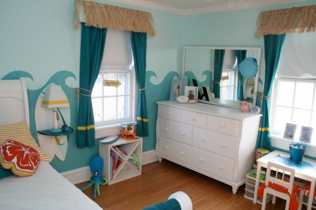 Ideen Kinderzimmer Blaue Wand Meer Deko Maritim Blau