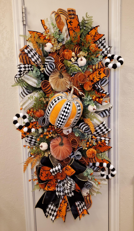 Glitter Pumpkin Fall Wreath