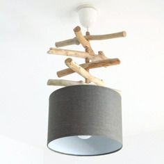 lustre suspension plafonnier bois flott gris 25 cm. Black Bedroom Furniture Sets. Home Design Ideas