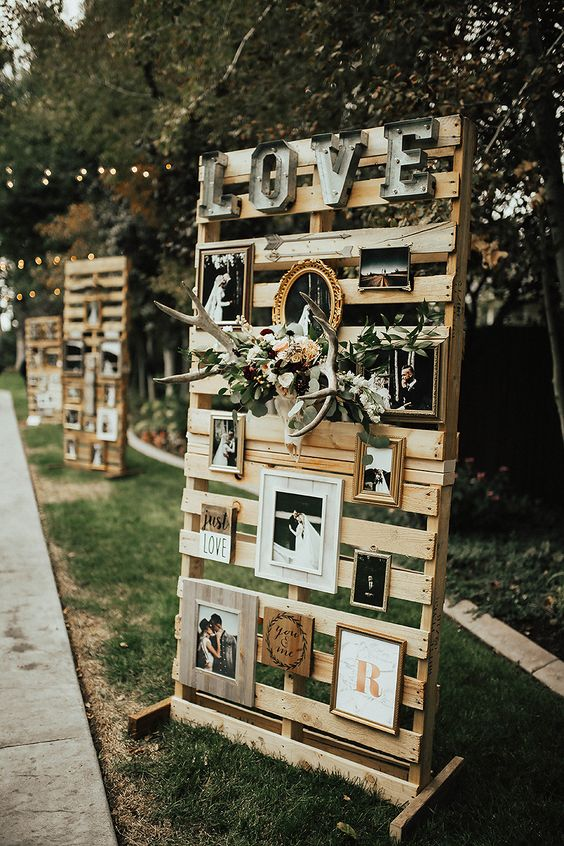 wooden pallet collages wedding photo display ideas with love