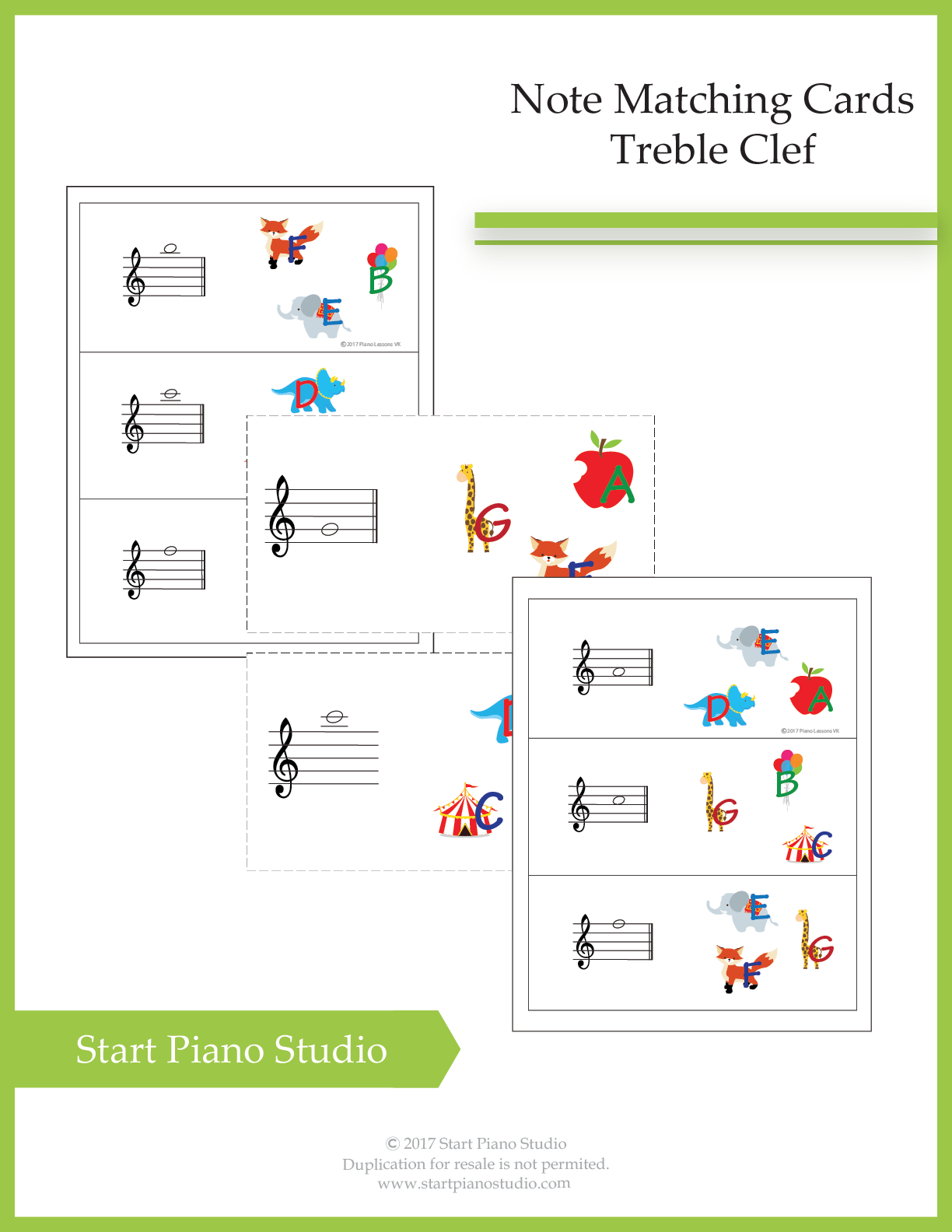 Note Matching Treble Clef Cards 10 Pages Of Colorful