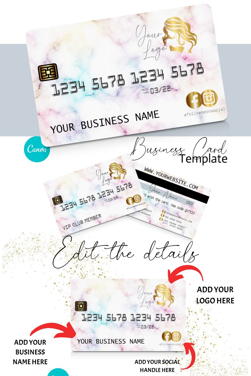 Diy Rainbow Marble Credit Card Business Cards Canva Template Business Card Design Appointment Card Loyalty Card Instant Access Business Card Inspiration Beauty Business Cards Business Card Design