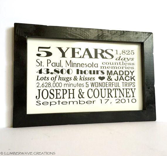 5 Year Wedding Anniversary Gifts: 5 Year Anniversary Wood Sign, Five Year Anniversary Sign