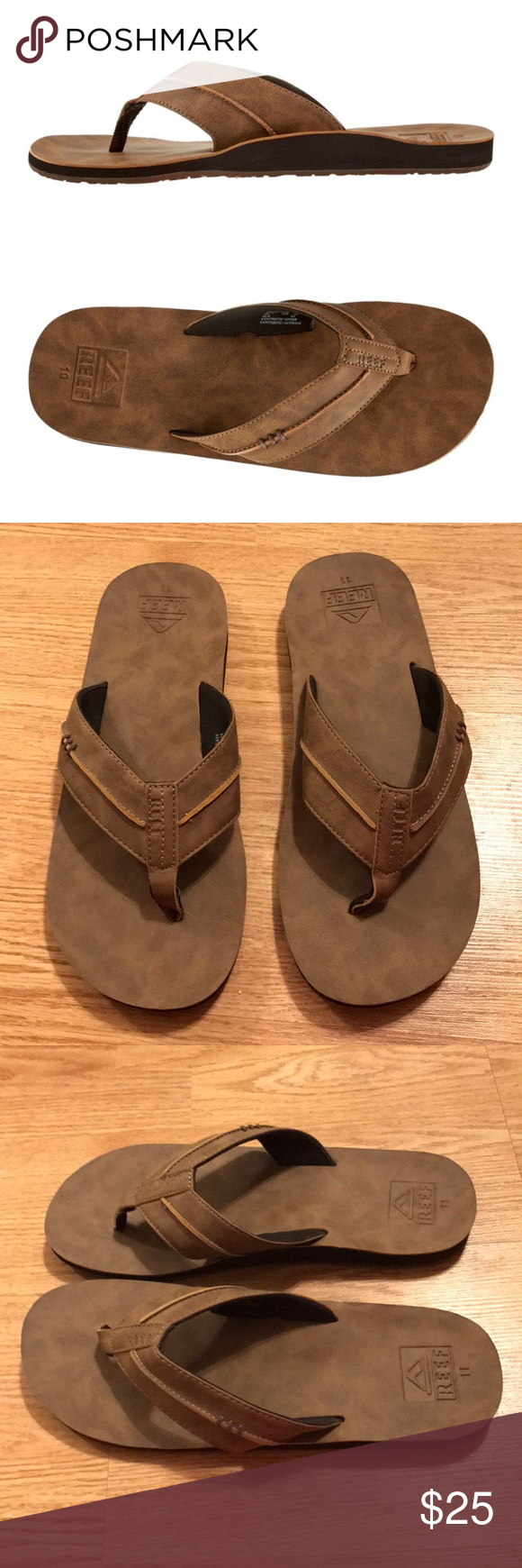 1b1c1a84bf47dd NWOT Reef Men s Marbea SL Flip Flops New with out tags. These have never  been worn. No stains or holes. Brown vegan leather sandals.