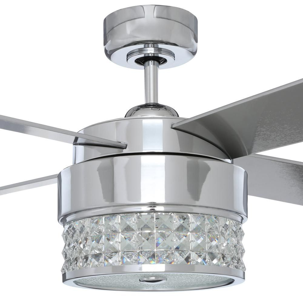 Designers Choice Collection Celestra 52 In Indoor Chrome And Optic Crystal Ceiling Fan With Remote Control And Wall Control Ac20952 Ch The Home Depot Ceiling Fan With Remote Ceiling Fan Ceiling Fan