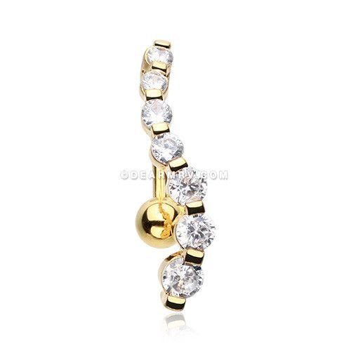 Golden Journey Sparkle Reverse Belly Button Ring (Clear)