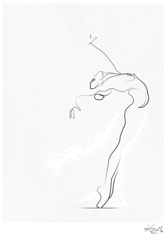 Drawing Lines R : Flight dancer line drawing art print by kerry kisbey