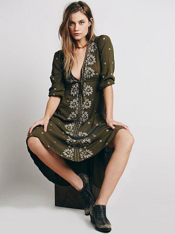 9a56c369c2c39 boho dress Summer/autumn Women dress Bohemian maxi Loose V-Neck Sexy ...