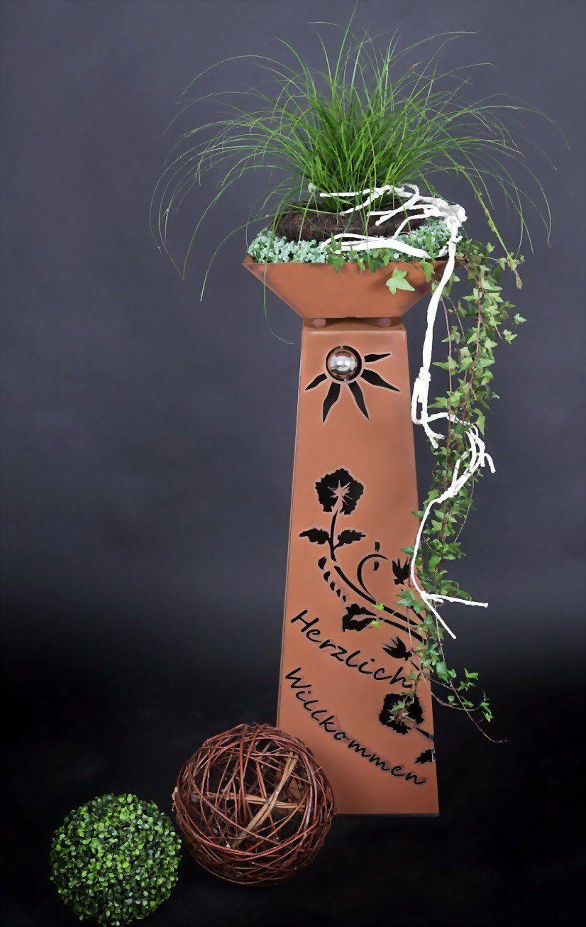 Gartensaule Und Gleichzeitig Feuerschale Rost Deko Garten Gartendekoration Bepflanzung