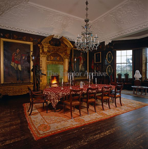 Baronial dining room complete with military portraits