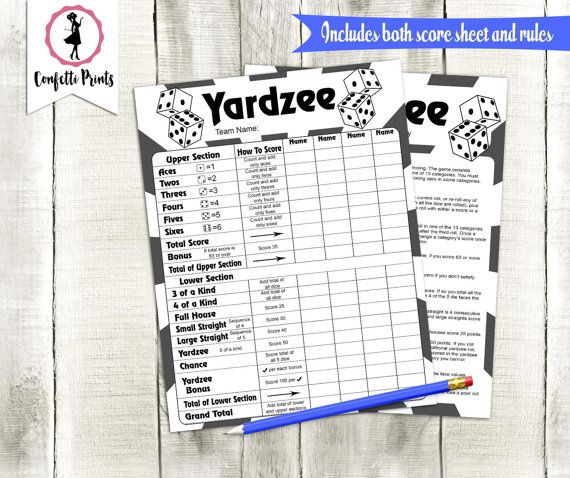 Yardzee Score Card  Yardzee Score Sheet  Yard Yahtzee  Yardzee
