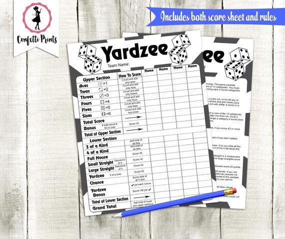 Yardzee Score Card | Yardzee Score Sheet | Yard Yahtzee | Yardzee