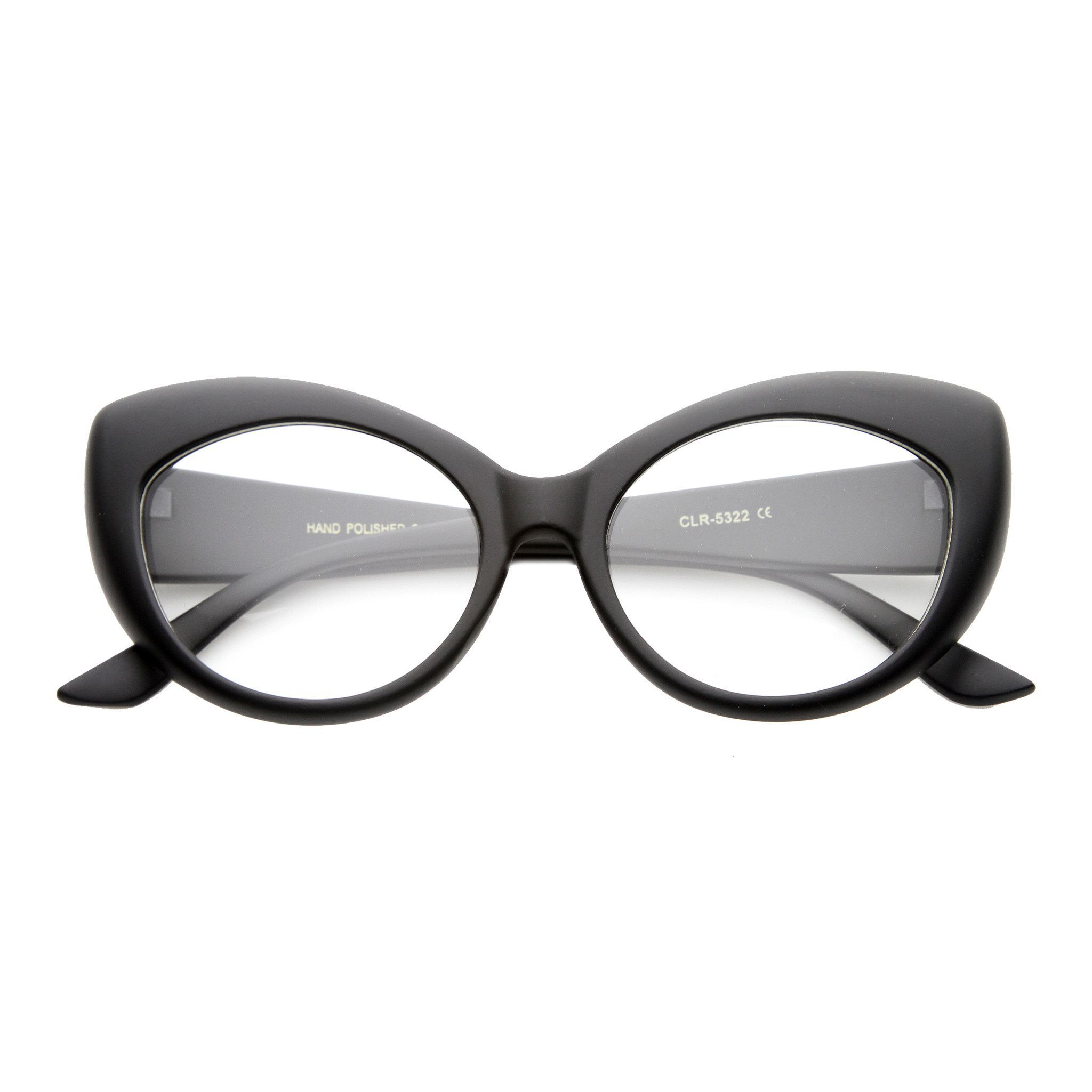 Retro 1950\'s Pointed Cat Eye Clear Lens Glasses 9646