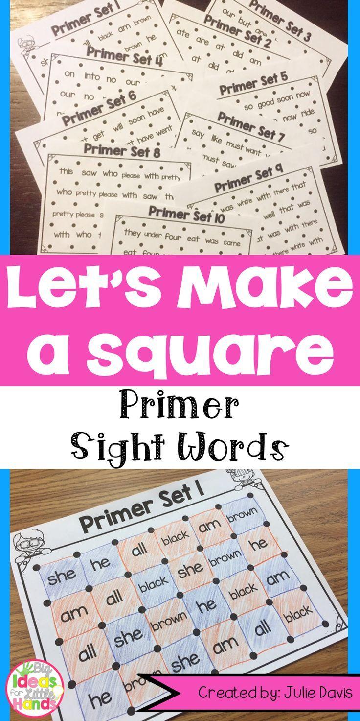 Dolch Primer Sight Words Partner Game Activty and Worksheets | Pinterest