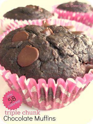Low Calorie Triple Chocolate Chunk Muffins Recipe--58 calories